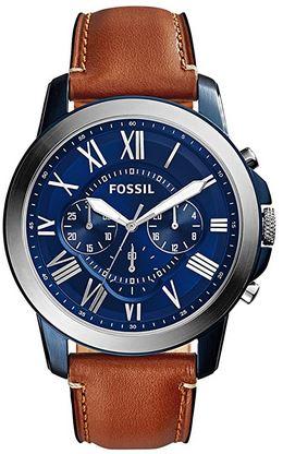 montre chronographe masculine de la marque Fossil cadran bleu bracelet en cuir marron
