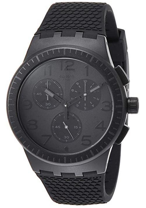 montre chronographe masculine toute noire de la marque Swatch