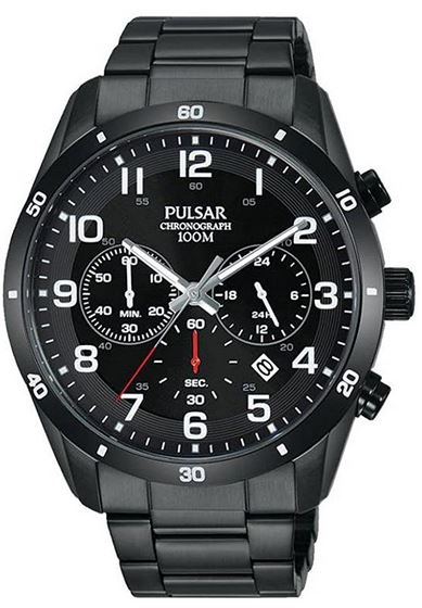 montre chronographe noir Pulsar pour femme avec bracelet noir en acier
