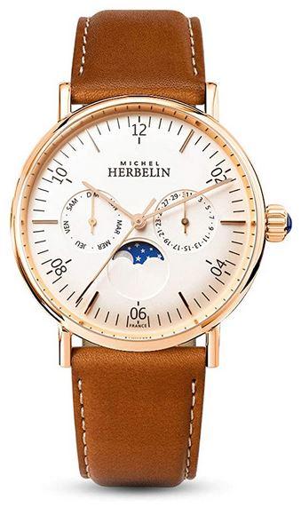 montre chronographe pour femme de Michel Herbelin avec cadran blanc et bracelet marron en cuir lisse