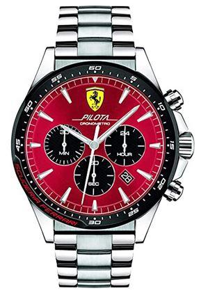 montre chronographe pour homme Ferrari Scuderia noire et rouge avec bracelet en argent