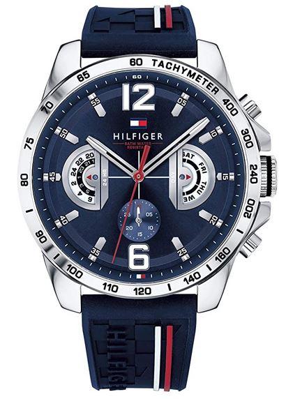montre chronographe pour homme Tommy Hifliger bleu et rouge avec bracelet de silicone