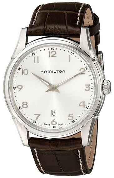 montre classique Hamilton pour homme cadran blanc et bracelet de cuir marron fonce