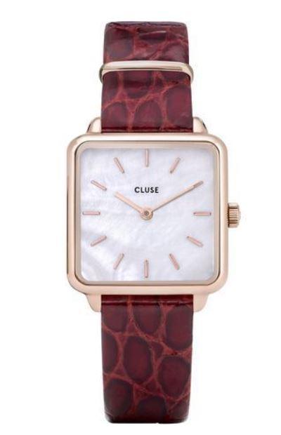 montre cluse femme la tetragone blanc et bracelet en cuir avec cadran carre