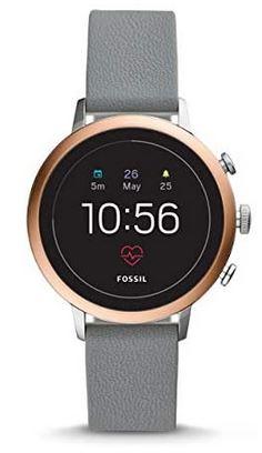 montre connectee pour femme Fossil FTW6016 avec bracelet en cuir gris