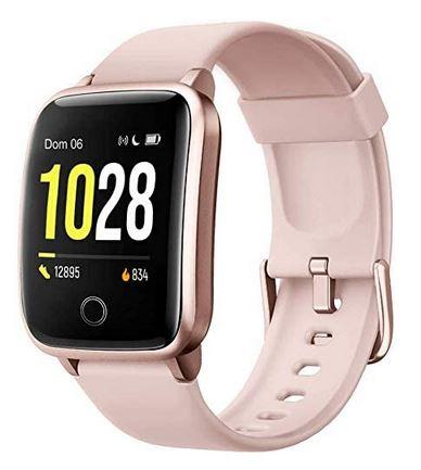 montre connectee pour femme de la marque Fitpolo avec bracelet en silicone rose