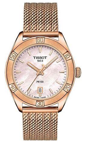 montre de luxe feminine Tissot PR 100 en or avec cadran rose nacre