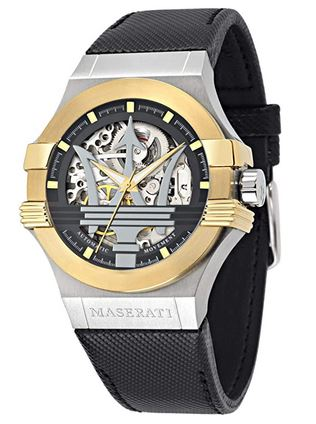 montre de luxe maserati cuir et cadran dore argente