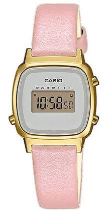 montre digitale Casio doree avec un bracelet rose pour femme