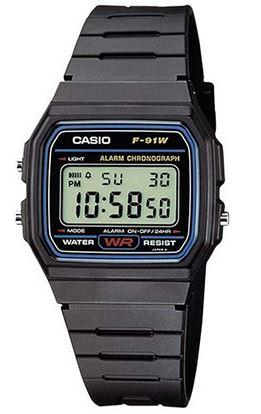 montre digitale Casio pour enfant avec bracelet en resine noir et cradan rectangulaire modele F 91W 1YER