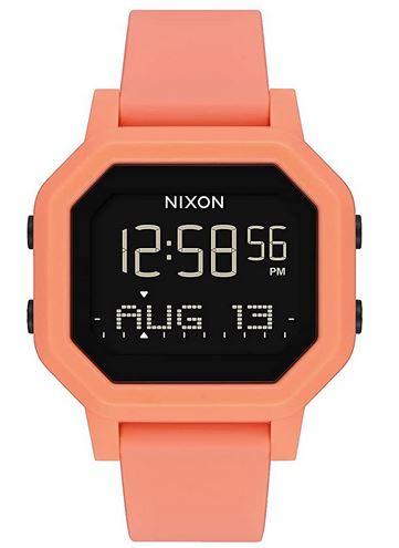 montre digitale Nixon avec bracelet en silicone rose orange destine aux femmes