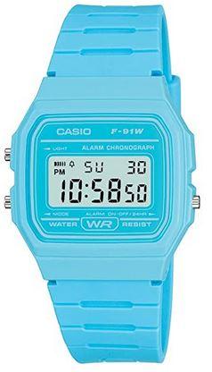 montre digitale bleu clair pour garcon et fille modele F91WC 2AEF marque japonaise Casio