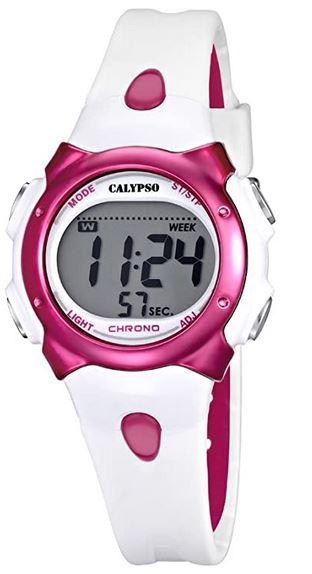 montre digitale en plastique blanc et rose pour femme signee Calypso