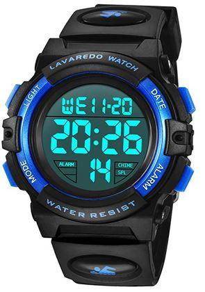 montre digitale pour enfant bleu et noir avec bracelet en silicone