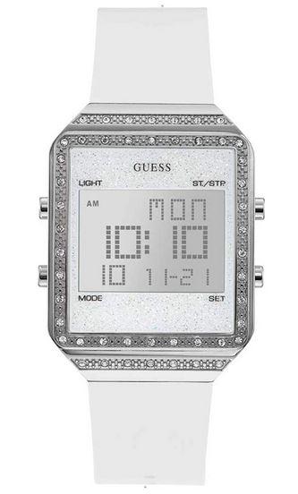 montre digitale pour femme signee Guess avec bracelet blanc en silicone