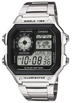 montre digitale pour homme marque casio modele world time illuminator en acier inoxydable