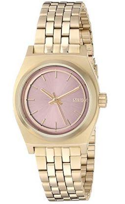 montre doree pour femme de marque Nixon avec petit cadran rose gold