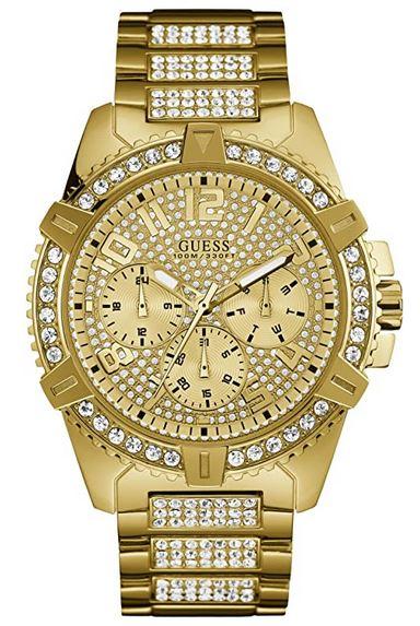 montre effet or et diamant pour homme de la marque Guess