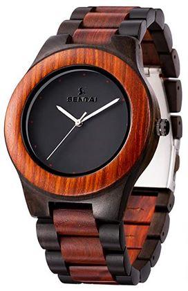 montre en bois fonce pour homme avec cadran classique minimaliste
