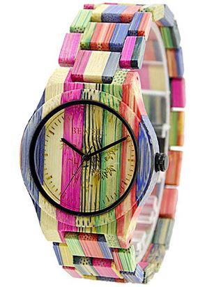 montre en bois multicolor pour femme marque Bewell