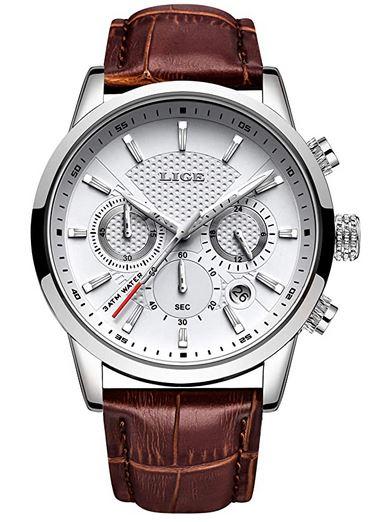 montre entree de gamme pour homme de la marque Lige chronographe blanc