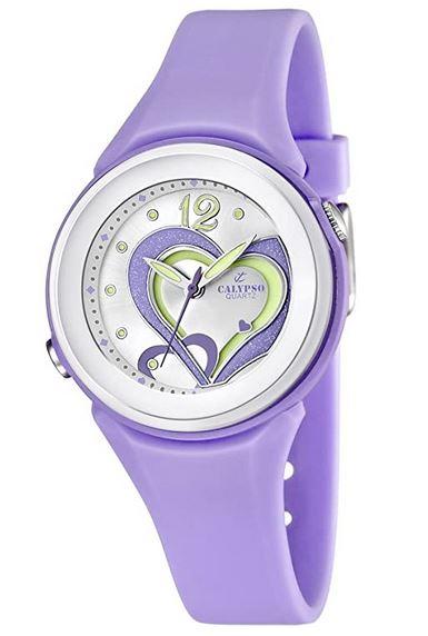 montre feminine Calypso de couleur violette avec un coeur au milieu du cadran