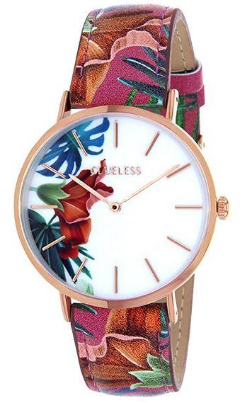 montre feminine Clueless rose gold cadran blanc et bracelet en cuir orne de motifs a fleurs