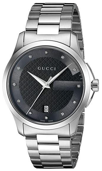 montre feminine Gucci Ya126456 avec cadran noir incrustre de pierres et bracelet en acier inoxydable