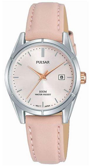 montre feminine Pulsar avec bracelet en cuir rose pale et cadran nacre