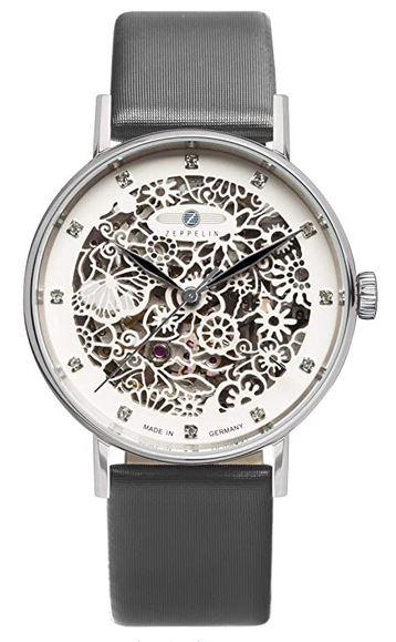 montre feminine a mecanisme apparent de la marque Zeppelin avec bracelet de cuir noir et cadran blanc