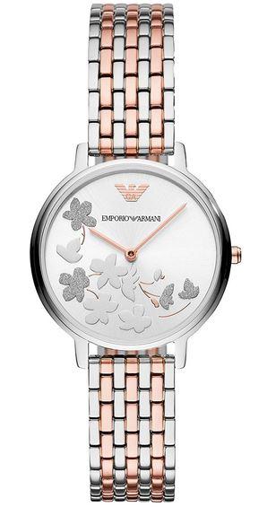 montre feminine avec cadran gris orne de fleurs de la marque Emporio Armani