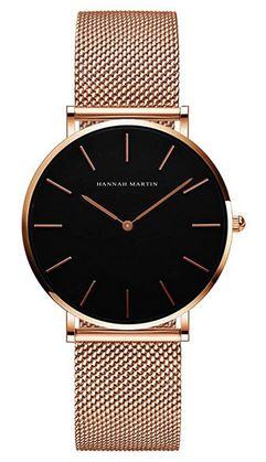 montre feminine dentree de gamme rose gold et noire marque Hannah Martin