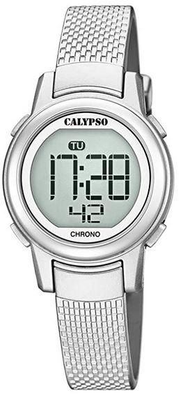 montre feminine digitale Calypso couleur argent