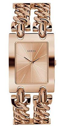 montre feminine et originale Guess cadran rectangulaire et bracelet double rose gold
