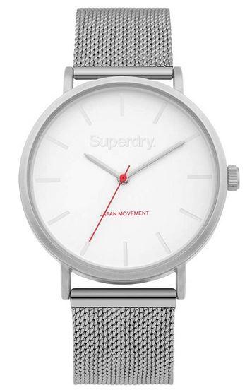 montre feminine superdry avec bracelet en acier inoxydable et cadran blanc
