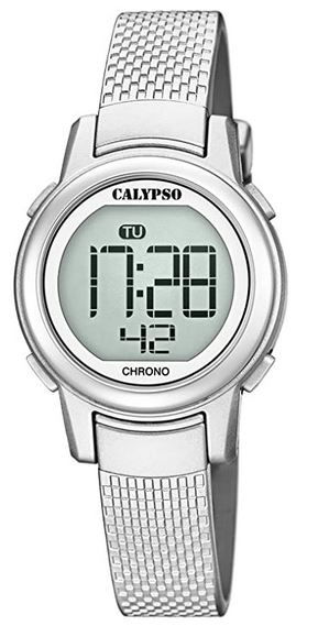 montre femme Calypso couleur argente a affichage digitale avec bracelet en plastique effet maille milanaise