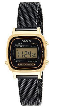 montre femme Casio en mailles fines noires et boitier dore