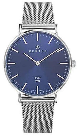 montre femme Certus H641M345 avec un cadran bleu nuit et un bracelet en acier inoxydable a maille milanaise