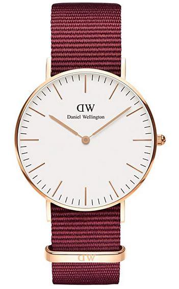 montre femme Daniel Wellington Classic Roselyne bracelet en tissu bordeaux cadran blanc et boitier couleur or