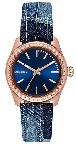 montre femme Diesel avec bracelet en jean et boitier rose gold