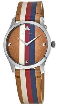 montre femme Gucci avec bracelet en cuir multicolor rouge bouge beige et marron