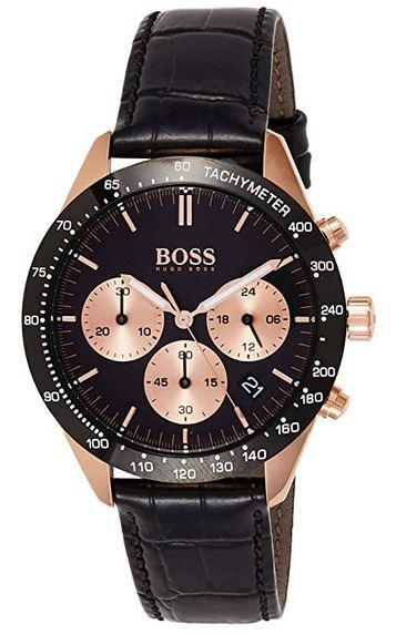 montre femme Hugo Boss 1513580 chronographe noir et or rose avec bracelet en cuir noir 1
