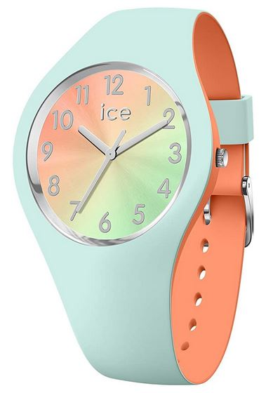 montre femme Ice Watch bleu clair et orange modele Ice Duo Chic Aqua Coral