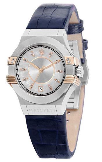 montre femme Maserati Potenza bracelet en cuir bleu et boitier en acier couleur argent