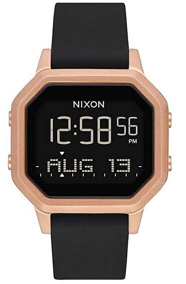 montre femme Nixon ecran digitale avec bracelet en silicone noir