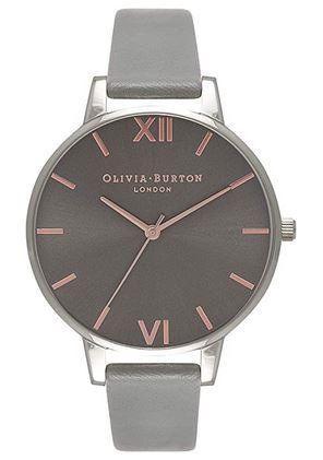montre femme Olivia Burton grise avec bracelet en cuir gris