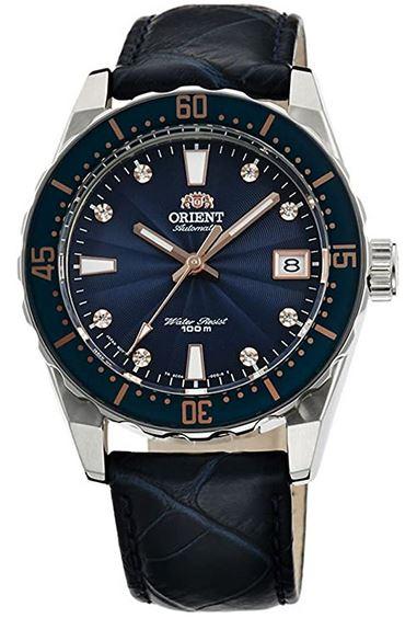 montre femme Orient cadran bleu Guilloche avec bracelet en cuir bleu