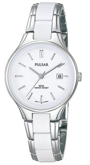 montre femme Pulsar en acier avec cadran blanc et bracelet blanc et argente