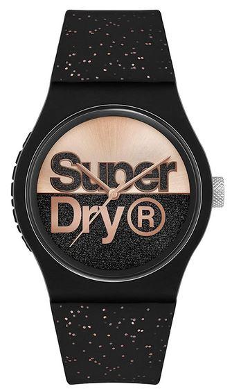 montre femme Superdry noir et rose gold avec bracelet noir paillete de rose
