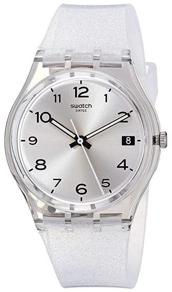 montre femme Swatch GM416C bracelet de silicone paillete argente et cadran gris brillant